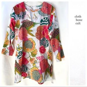 Retro Floral Patterned Cotton TUNIC / COVER-UP